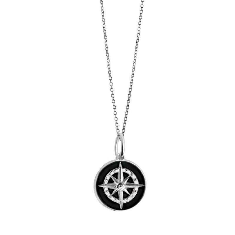 Large Silver Black Enamel Compass Charm (BACK ORDER-SHIPS LATE MARCH) - JET SET CANDY