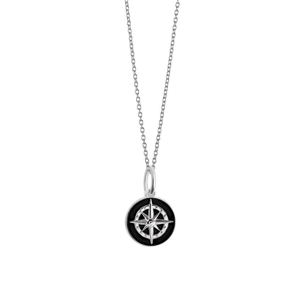 Silver Mini Black Enamel Compass Charm - JET SET CANDY