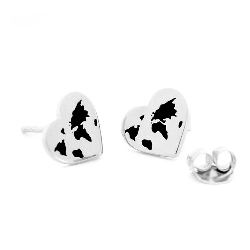 Small Silver World Heart Map Earrings with Black Enamel