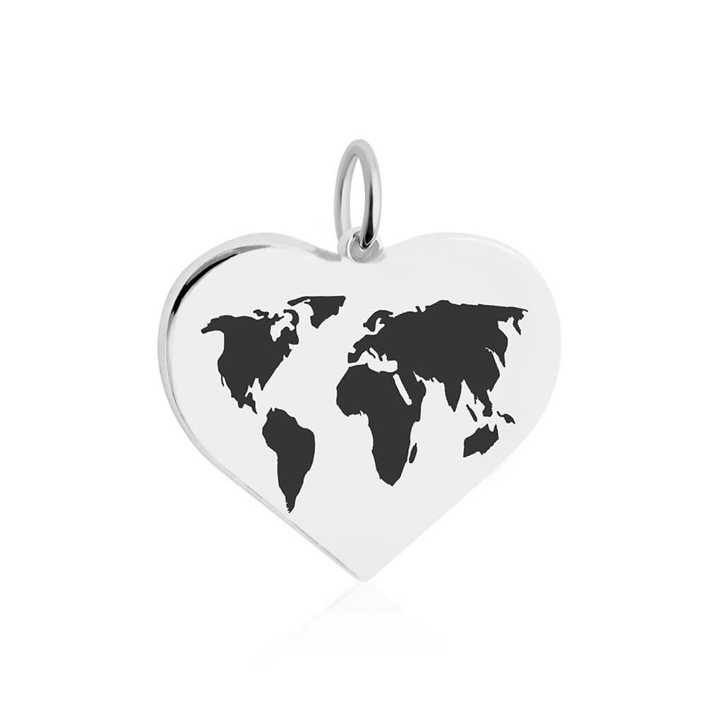 Large Silver World Heart Map Charm with Black Enamel (SHIPS LATE JAN.)