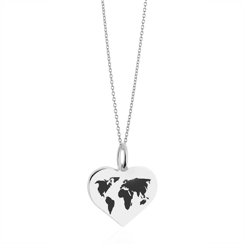 Medium Silver World Heart Map Charm with Black Enamel (SHIPS MID DEC.)