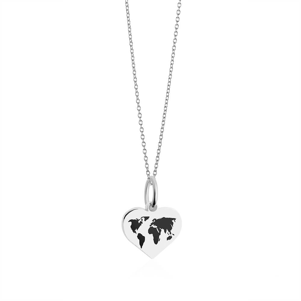 Mini Silver World Heart Map Charm with Black Enamel (SHIPS EARLY FEB.)