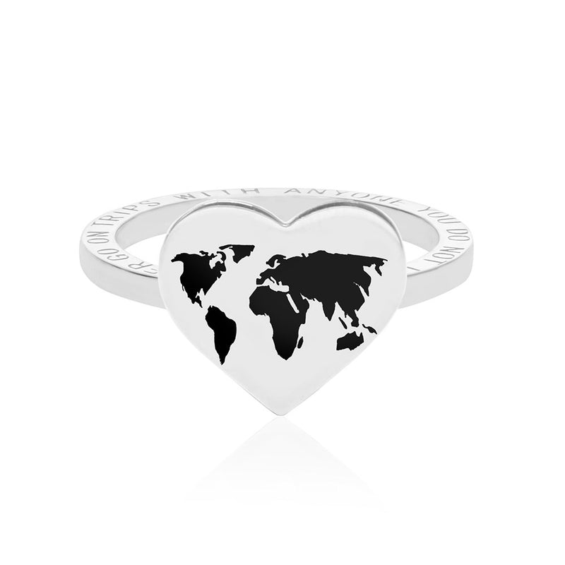 Silver World Heart Map Ring with Black Enamel