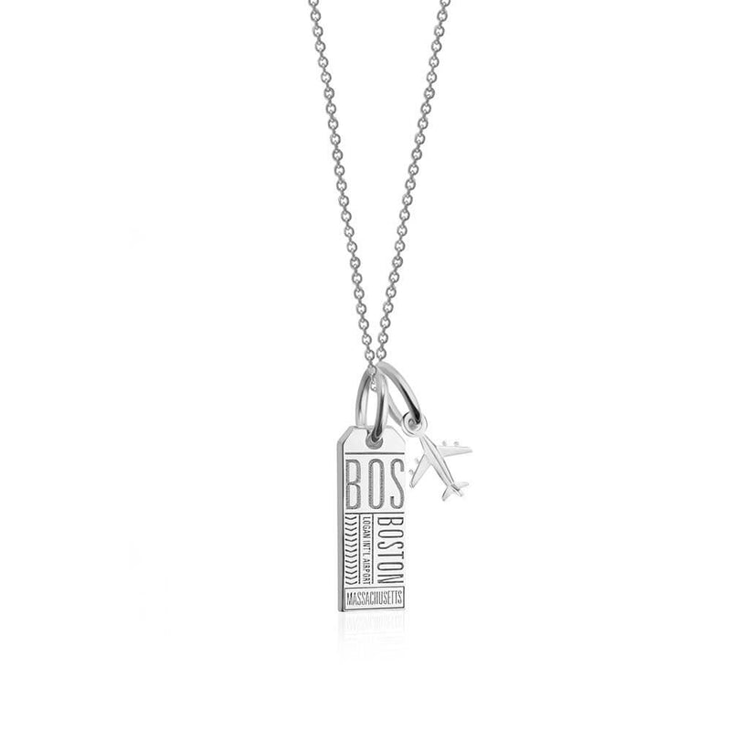 Mini Silver Boston Necklace, Luggage Tag Charm (SHIPS JUNE) - JET SET CANDY