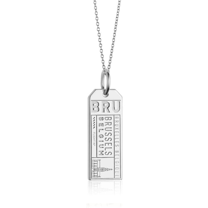Silver Belgium Charm, BRU Brussels Luggage Tag - JET SET CANDY