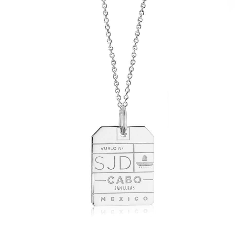 Silver Mexico Charm, SJD Los Cabos Luggage Tag - JET SET CANDY
