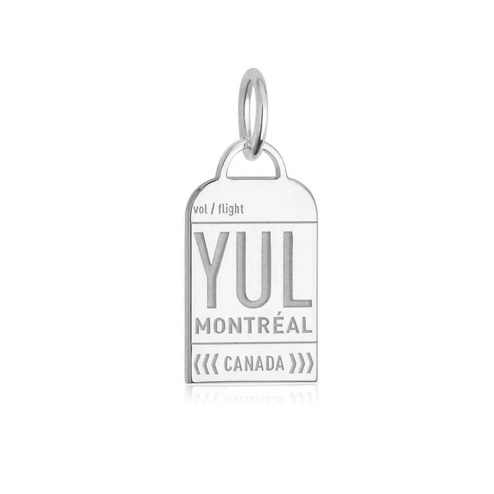 Silver Canada Charm, YUL Montreal Luggage Tag - JET SET CANDY