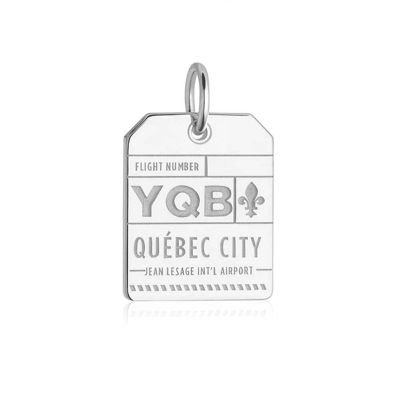 Silver Canada Charm, YQB Quebec City Luggage Tag - JET SET CANDY