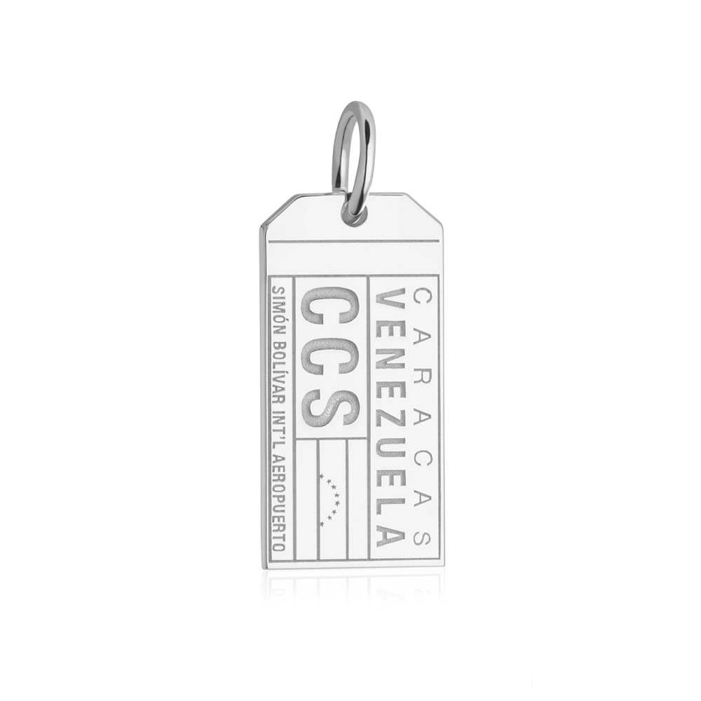 Silver Travel Charm, CCS Venezuela Luggage Tag - JET SET CANDY