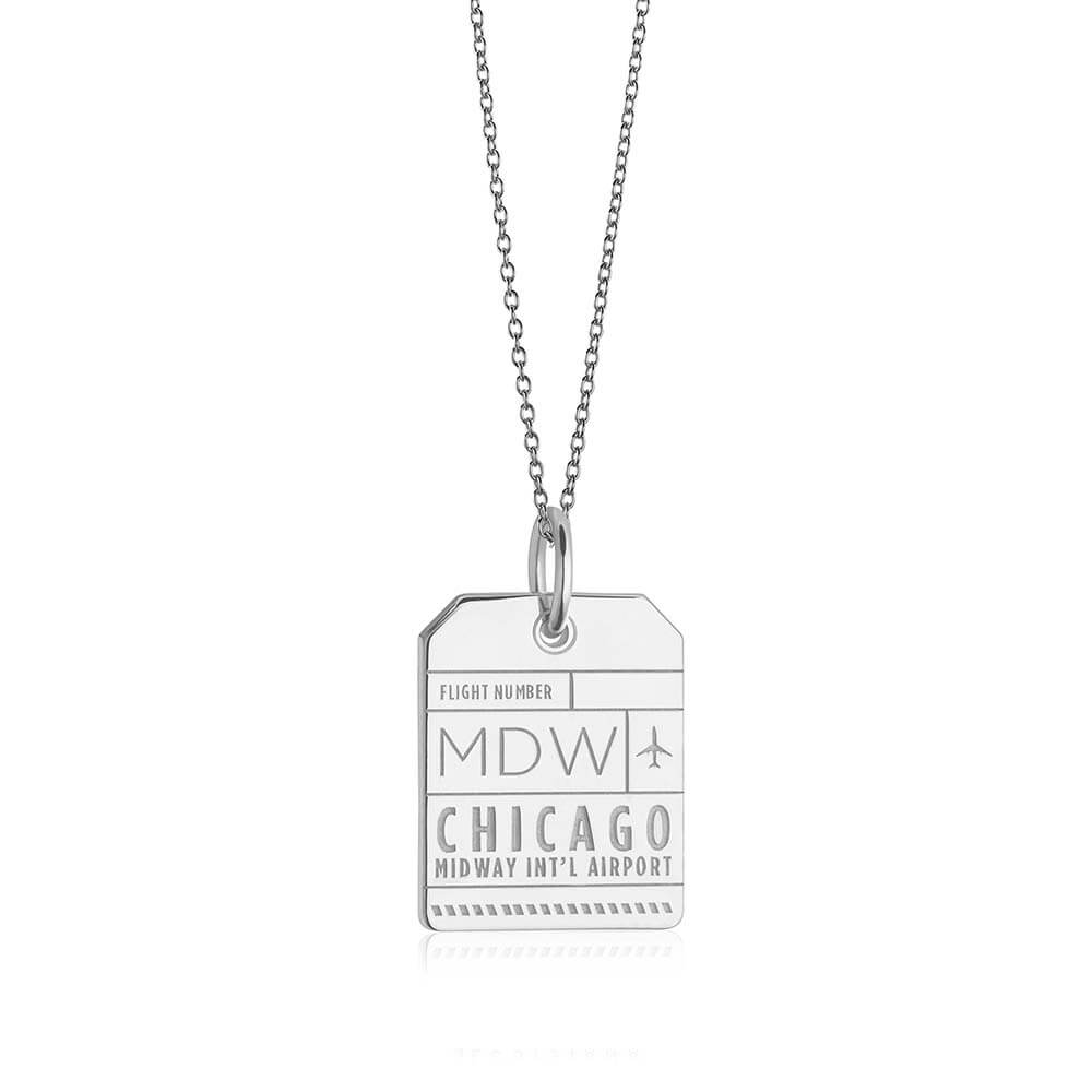 Silver USA Charm, MDW Chicago Luggage Tag (SHIPS JUNE) - JET SET CANDY