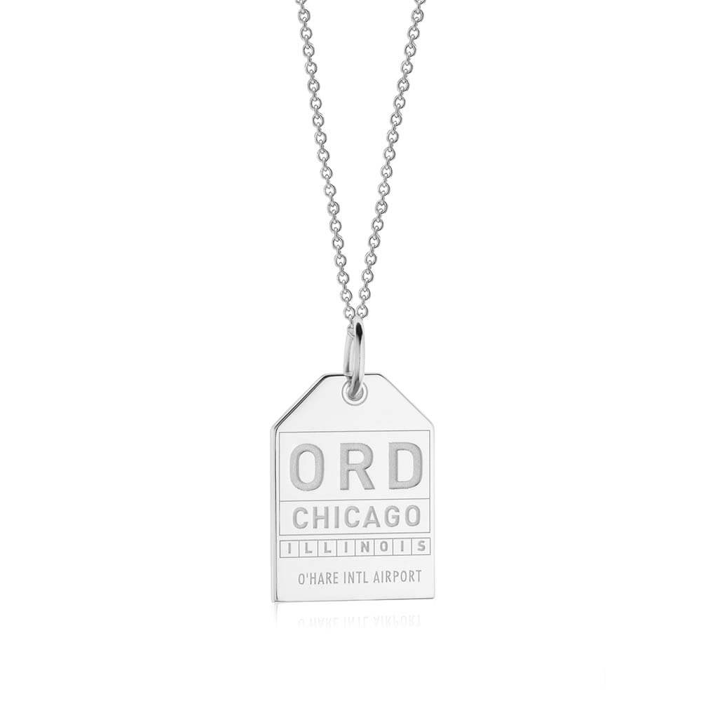 Silver USA Charm, ORD Chicago Luggage Tag - JET SET CANDY