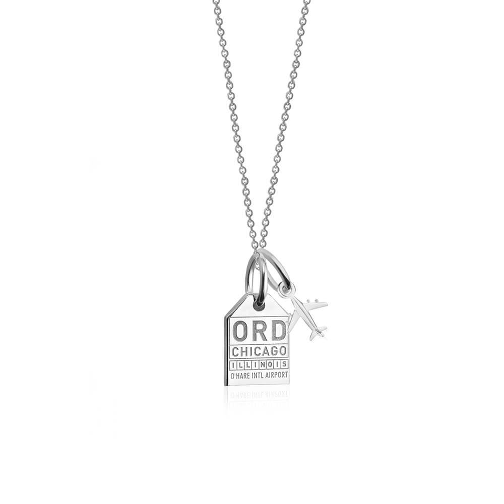Mini Silver Chicago Necklace, ORD Luggage Tag Charm (SHIPS JUNE) - JET SET CANDY