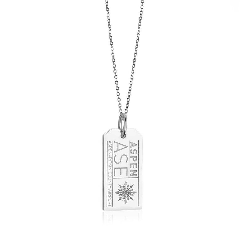 Sterling Silver Colorado Charm, ASE Aspen Luggage Tag - JET SET CANDY