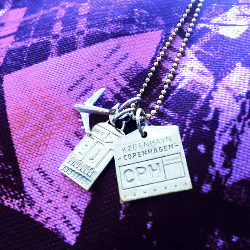 "18"" SILVER BALL CHAIN WITH 2 LUGGAGE TAG CHARMS (MINI PLANE SHIPS JUNE) - JET SET CANDY"