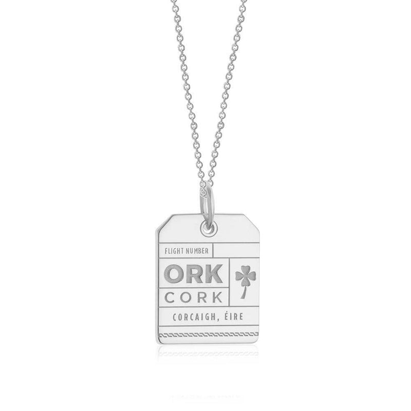 Silver Ireland Charm, ORK Cork Luggage Tag - JET SET CANDY