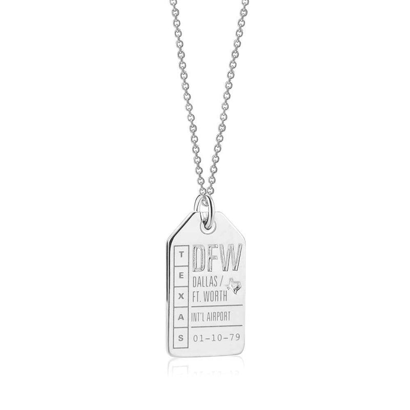 Silver Dallas Charm, DFW Luggage Tag - JET SET CANDY