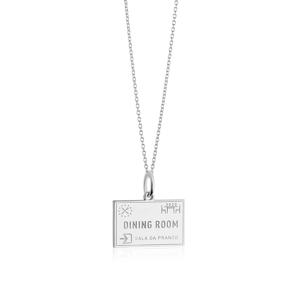 Sterling Silver Dining Room Passport Stamp Charm