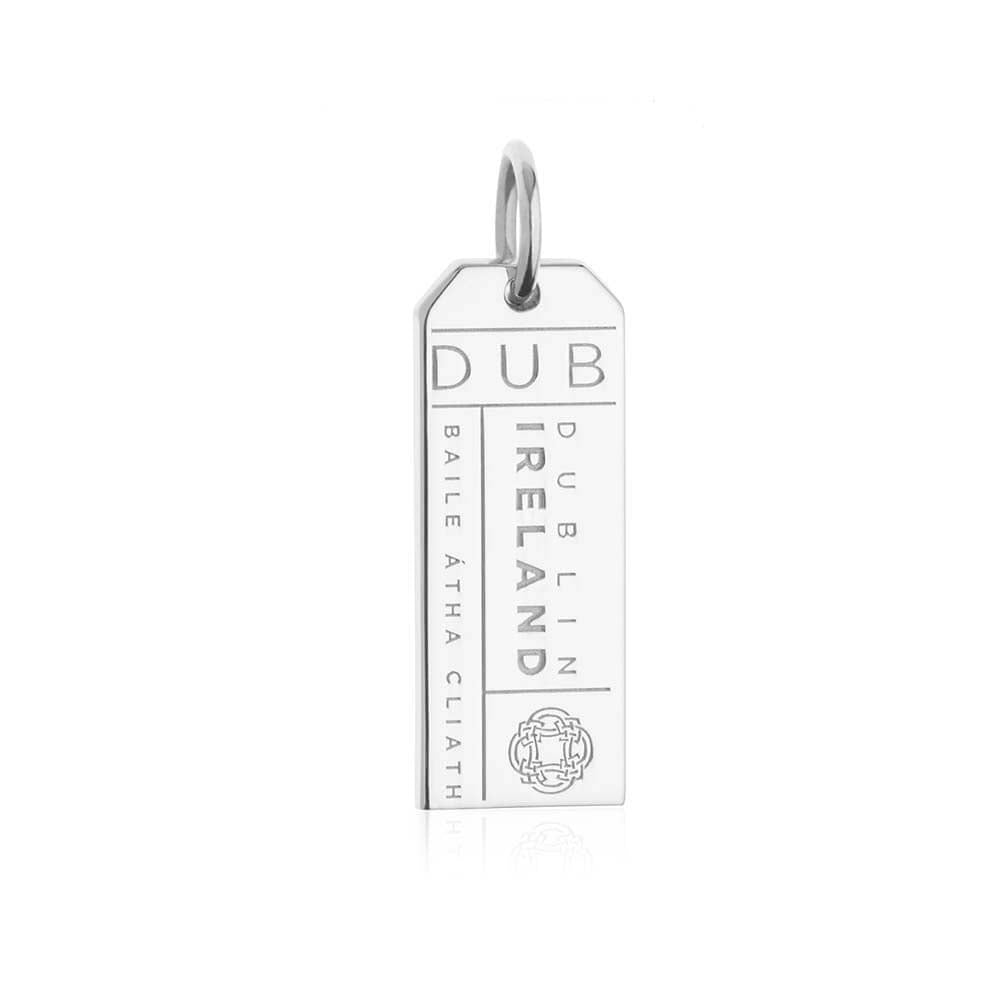 Silver Ireland Charm, DUB Dublin Luggage Tag - JET SET CANDY