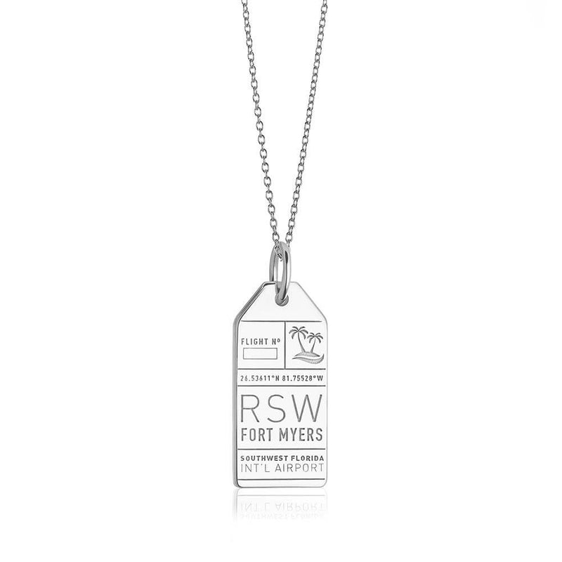 Silver USA Charm, RSW Fort Myers Luggage Tag - JET SET CANDY