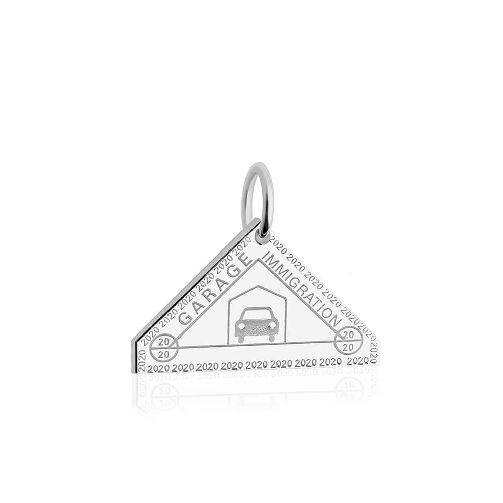 Sterling Silver Garage Passport Stamp Charm