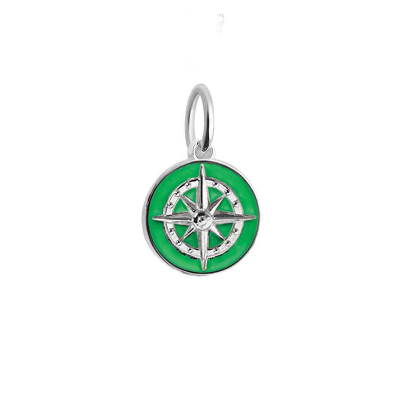 Silver Mini Green Enamel Compass Charm - JET SET CANDY