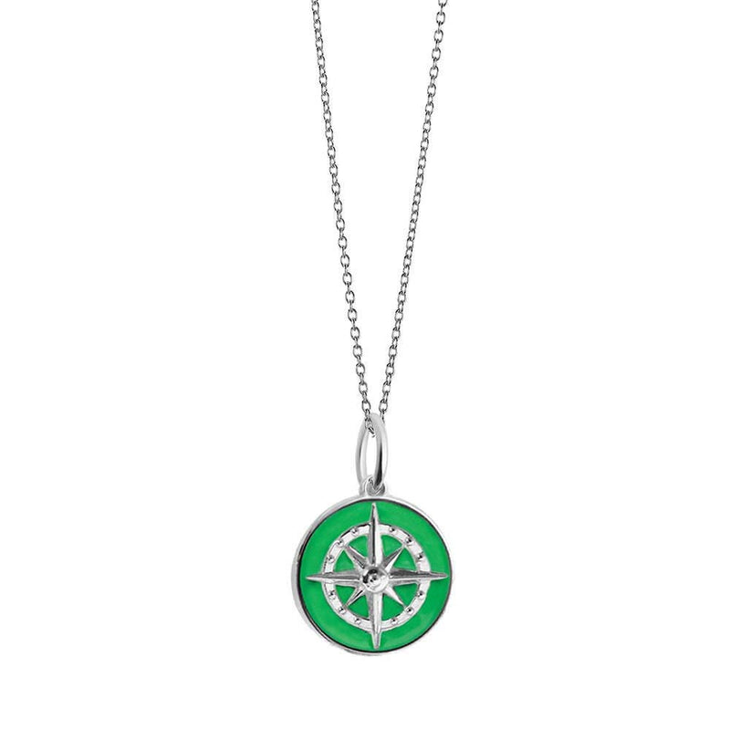 Large Silver Green Enamel Compass Charm - JET SET CANDY