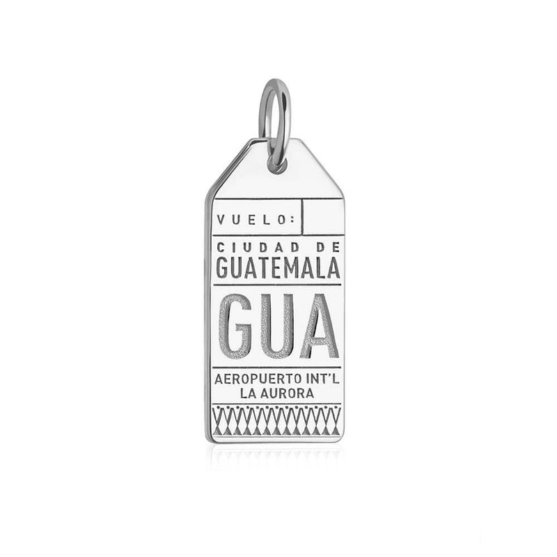 Silver Travel Charm, GUA Guatemala Luggage Tag - JET SET CANDY