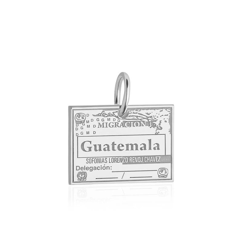 Sterling Silver Travel Charm, Guatemala Passport Stamp