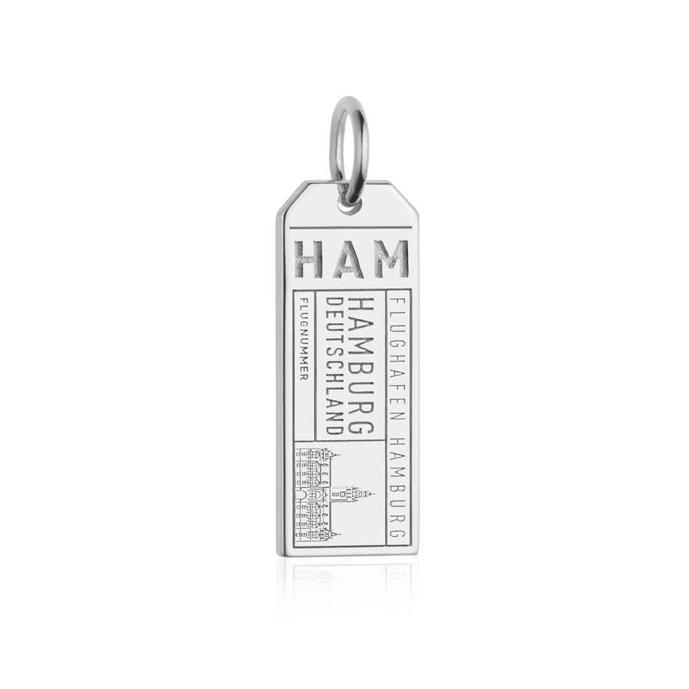 Silver Germany Charm, HAM Hamburg Luggage Tag - JET SET CANDY