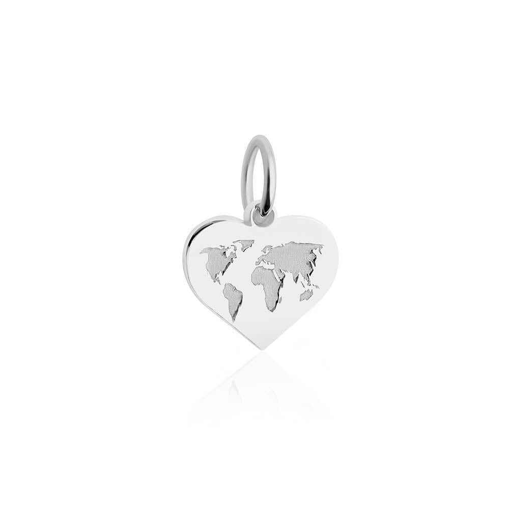 Mini Silver World Heart Map Charm-GWP