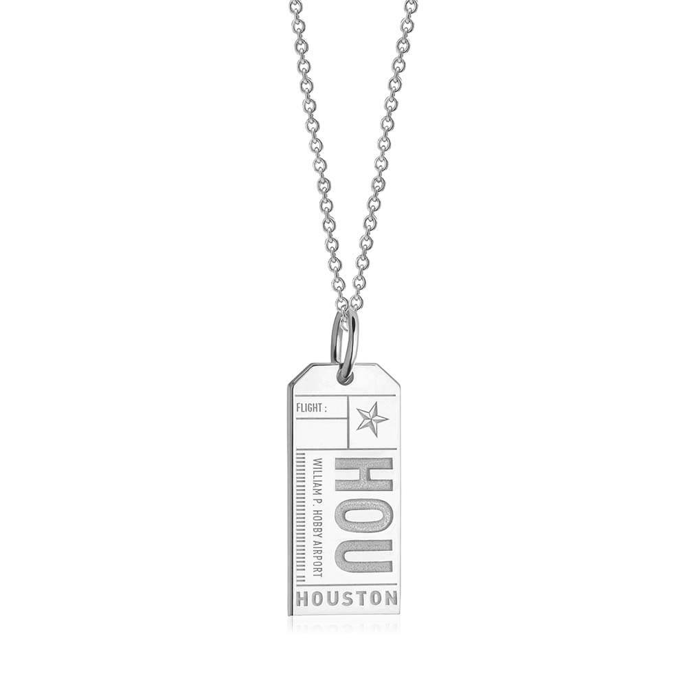 Silver Texas Charm, HOU Houston Luggage Tag - JET SET CANDY