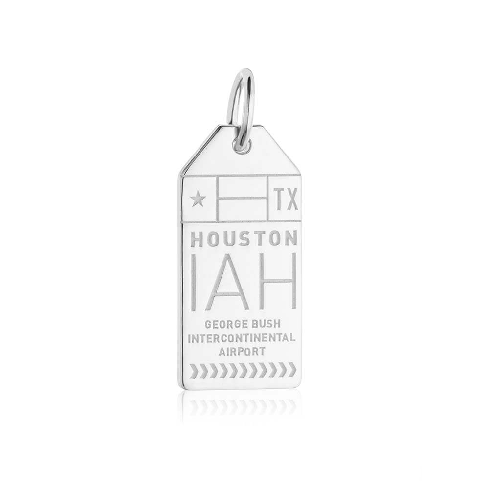 Silver USA Charm, IAH Houston Luggage Tag - JET SET CANDY