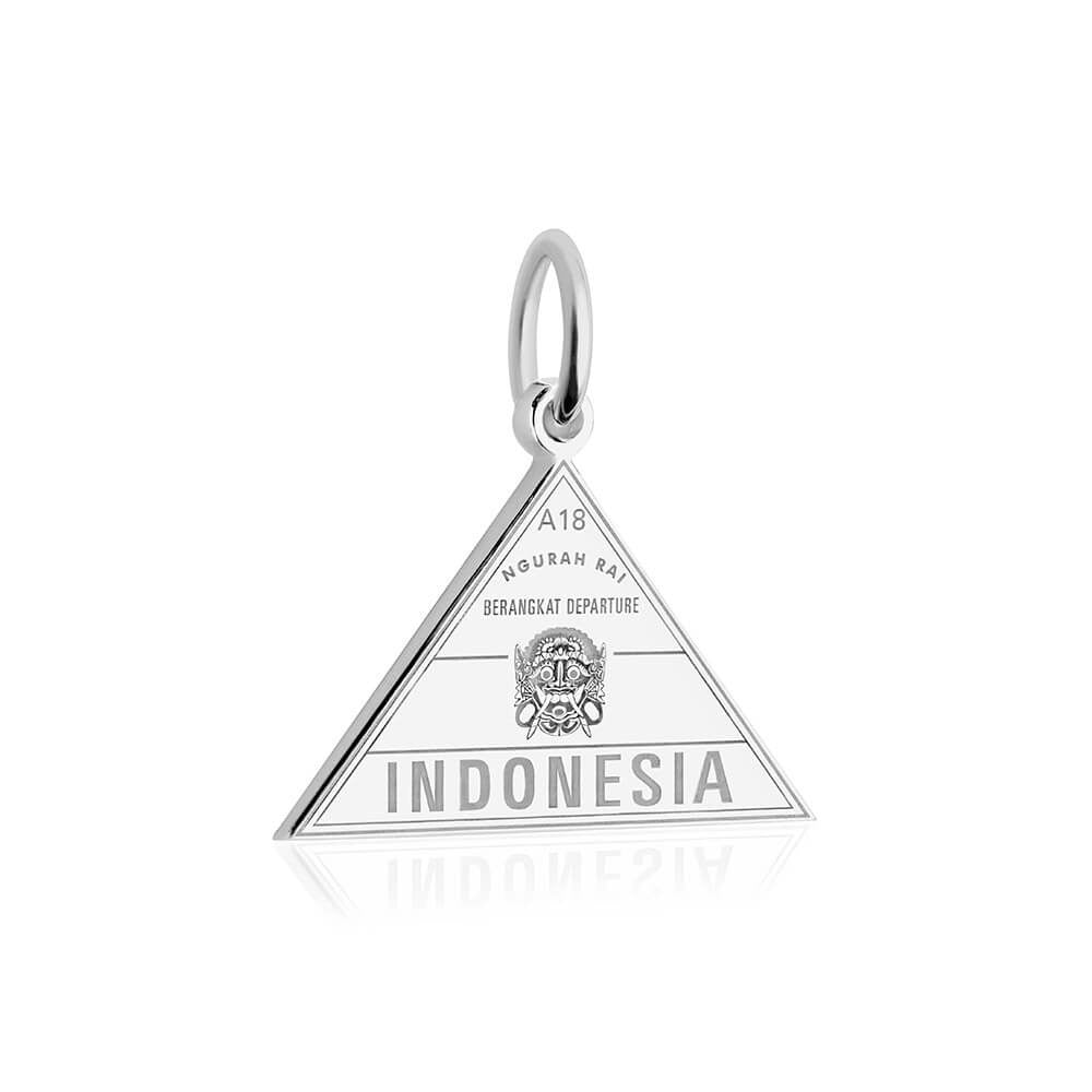Sterling Silver Travel Charm, Indonesia Passport Stamp