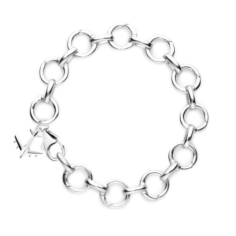 SILVER AND SOLID GOLD CHARM BRACELET (SHIPS JUNE) - JET SET CANDY
