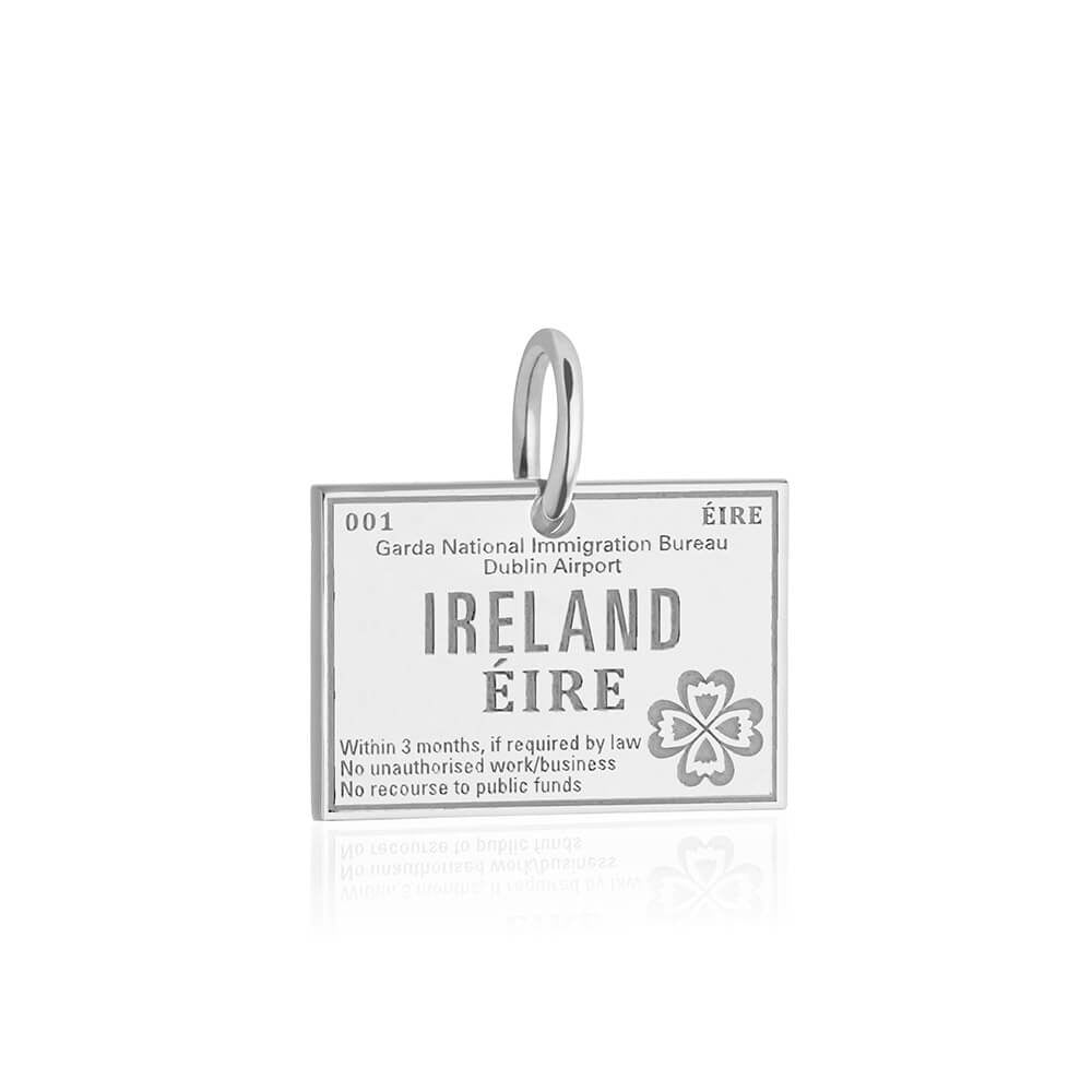 Sterling Silver Ireland Charm, Passport Stamp