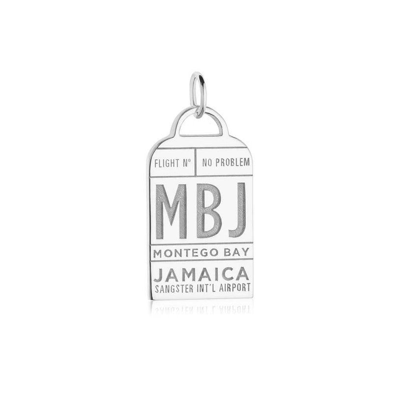 Silver Montego Bay Charm, Caribbean MBJ Luggage Tag - JET SET CANDY