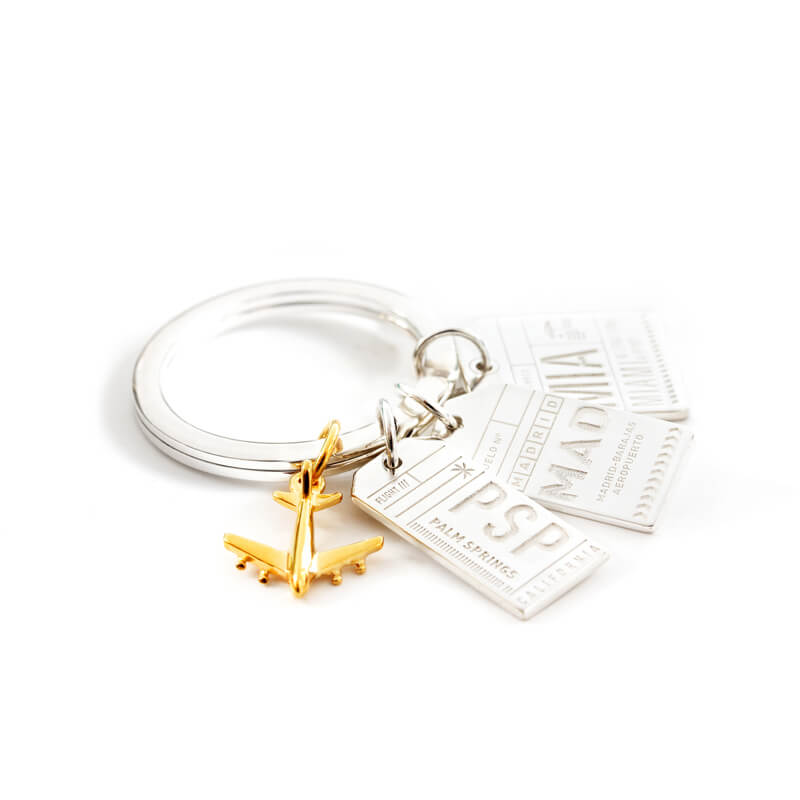 Sterling Silver Keyring - JET SET CANDY