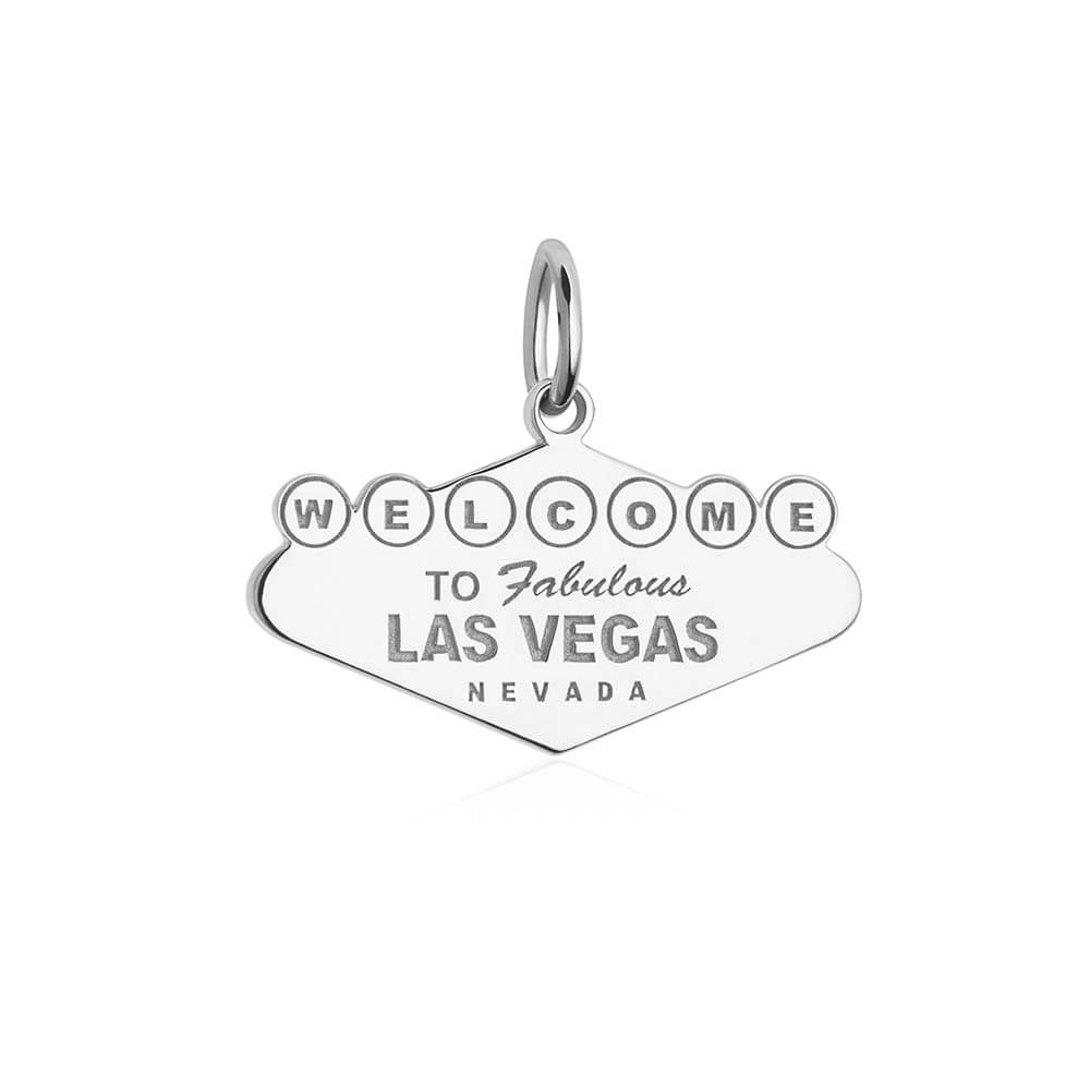 Silver Las Vegas Charm, Welcome to Vegas Sign - JET SET CANDY