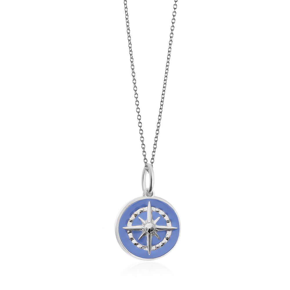 Large Silver Light Blue Enamel Compass Charm - JET SET CANDY