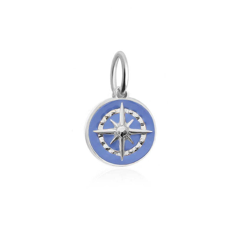Silver Mini Light Blue Enamel Compass Charm - JET SET CANDY