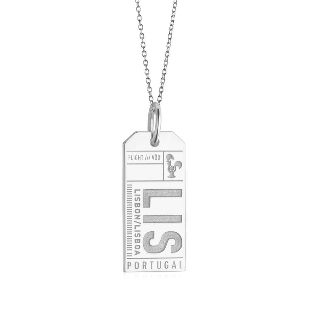 Silver Portugal Charm, LIS Lisbon Luggage Tag (SHIPS JUNE) - JET SET CANDY