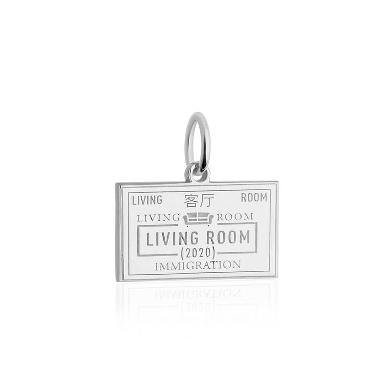 Sterling Silver Living Room Passport Stamp Charm