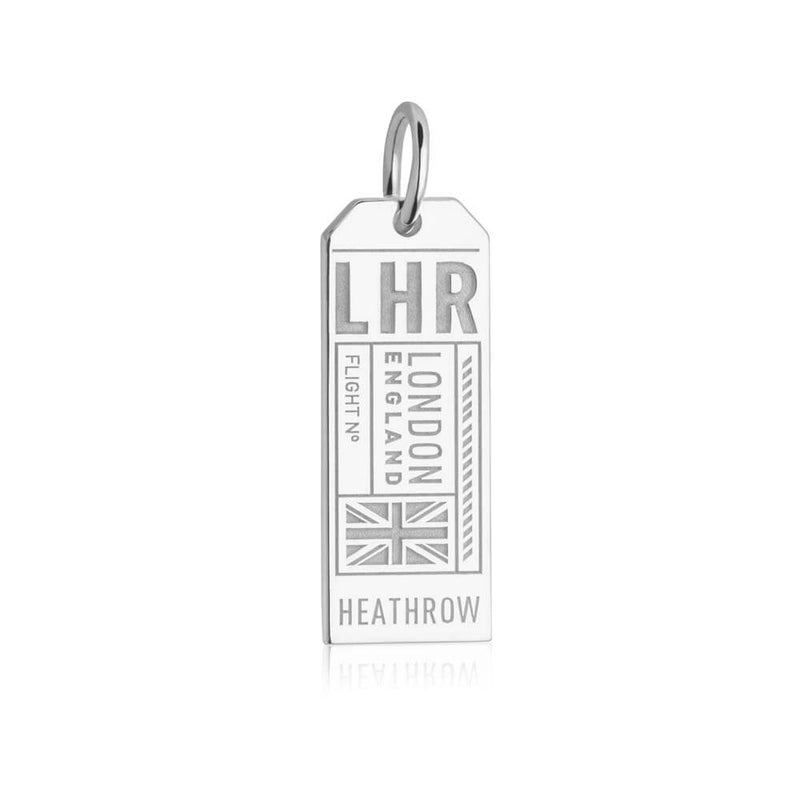 Silver England Charm, LHR London Luggage Tag - JET SET CANDY
