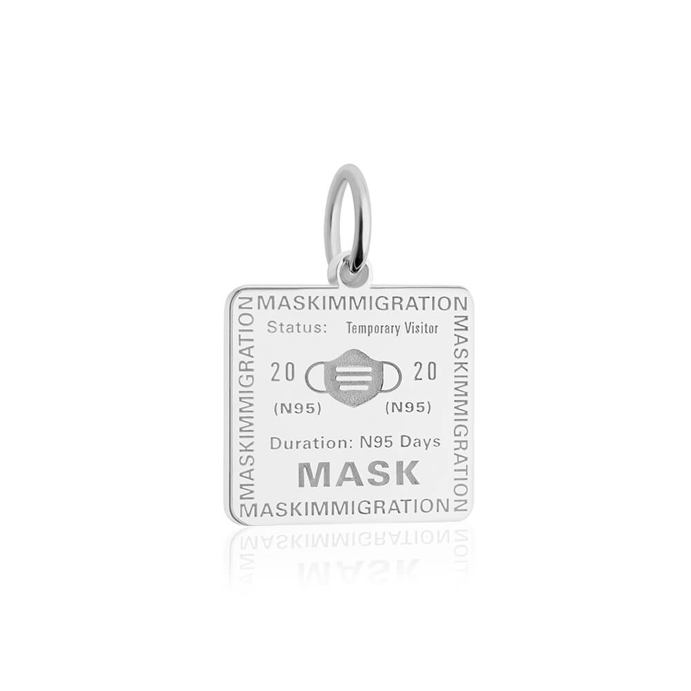 Sterling Silver Mask Passport Stamp Charm (SHIPS EARLY MAY)