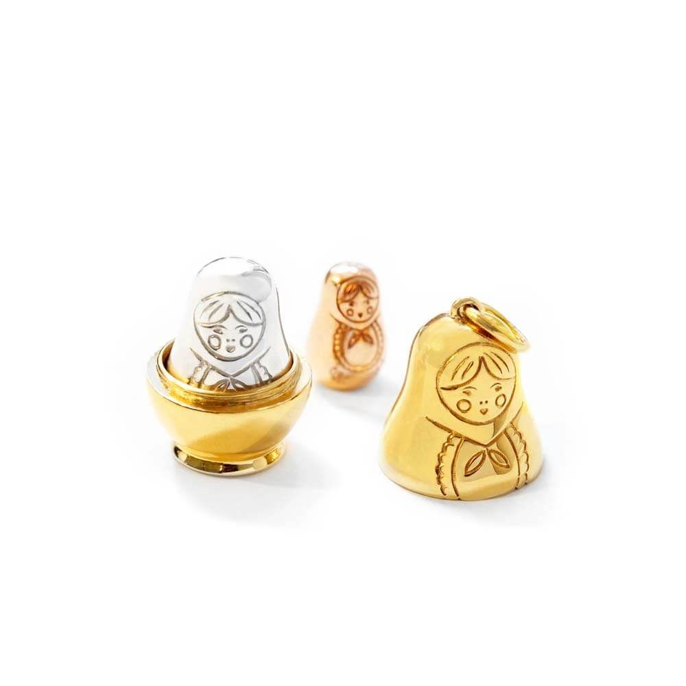 Russian Matryoshka Doll Charm in Gold, Silver and Rose Gold - JET SET CANDY