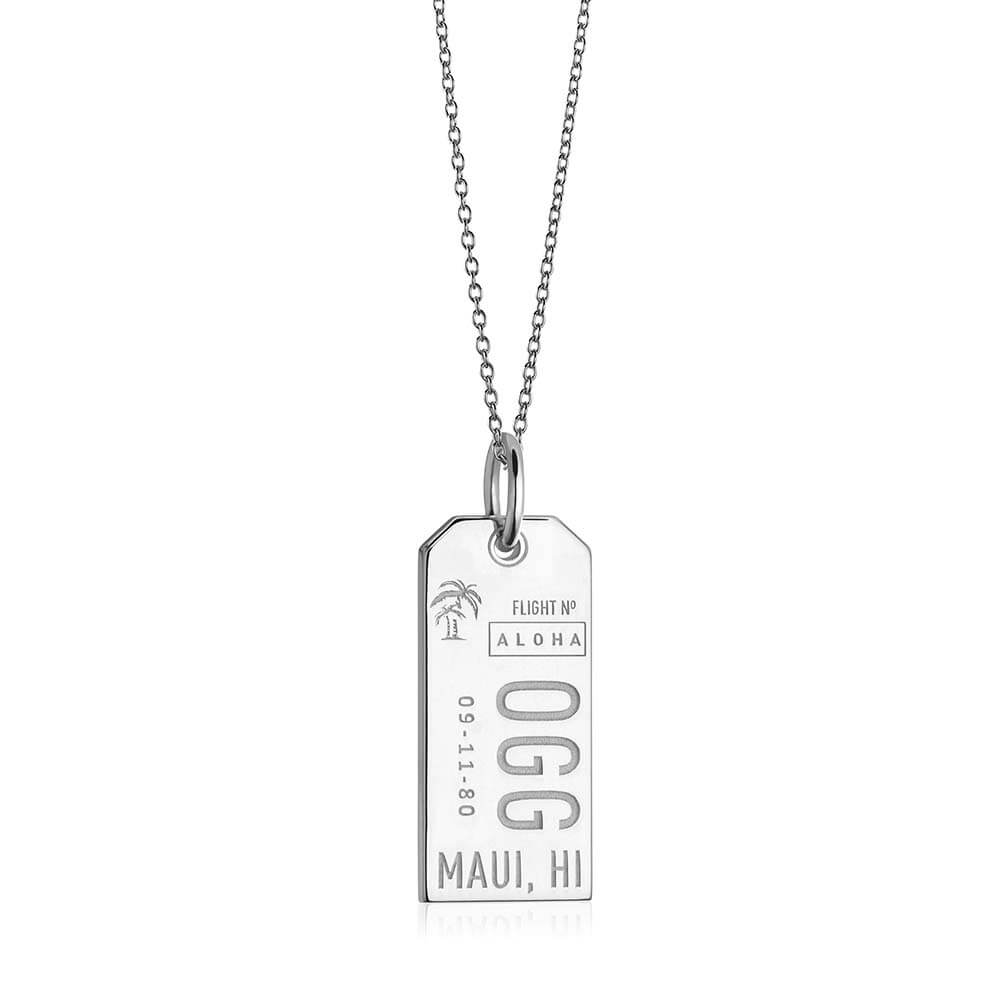 Silver Hawaii Charm, OGG Maui Luggage Tag - JET SET CANDY