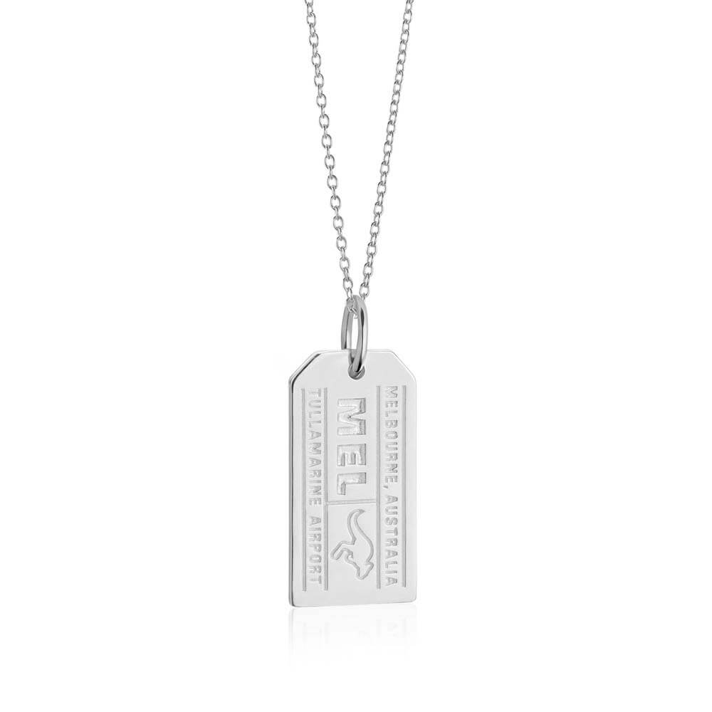 Sterling Silver Australia Charm, Melbourne MEL Luggage Tag (SHIPS JUNE) - JET SET CANDY
