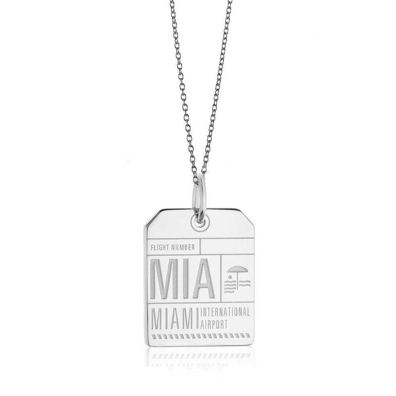 Silver USA Charm, MIA Miami Luggage Tag - JET SET CANDY