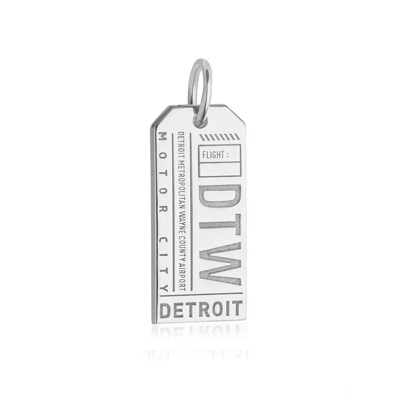 Silver USA Charm, DTW Detroit Luggage Tag - JET SET CANDY