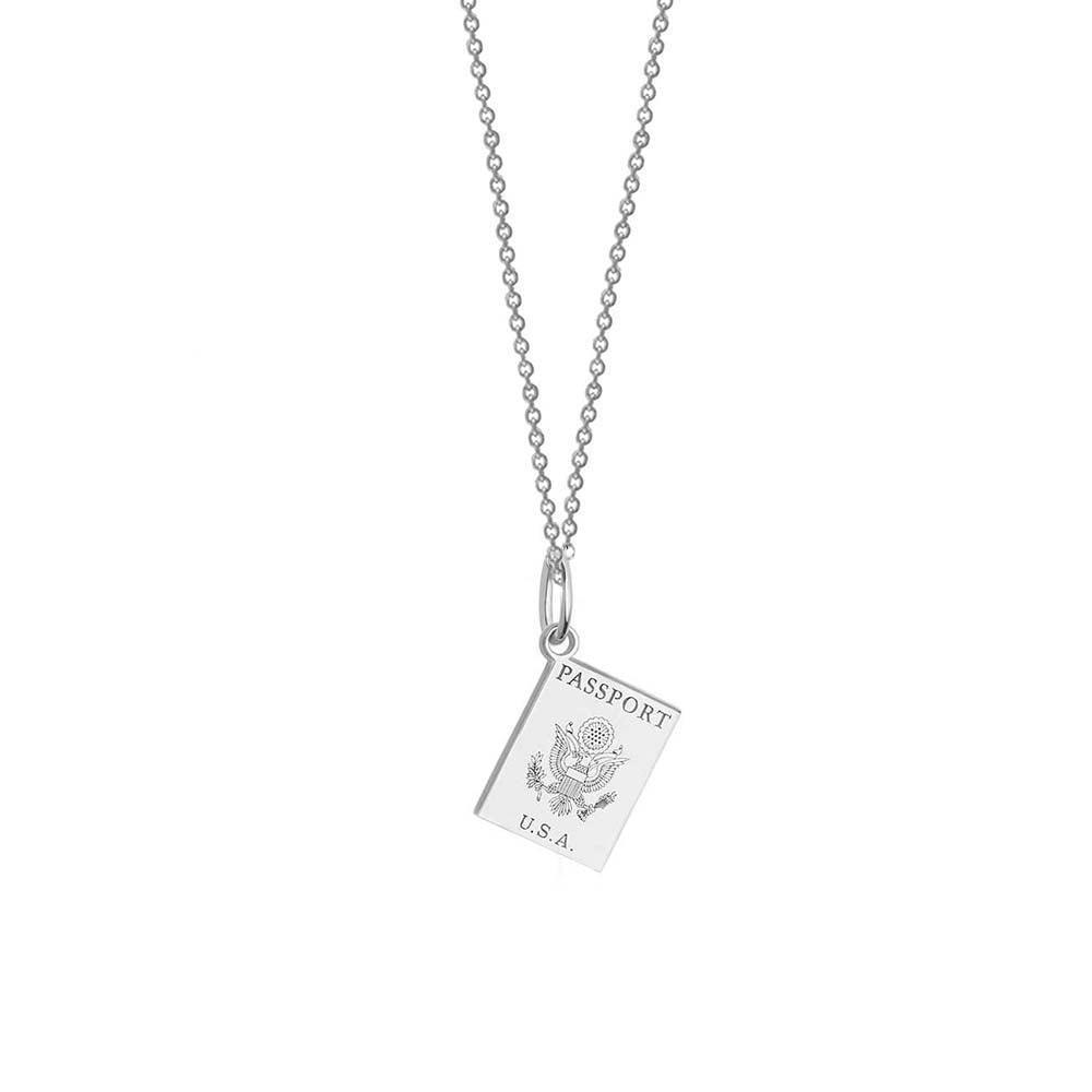 Mini Silver USA Passport Charm Necklace - JET SET CANDY